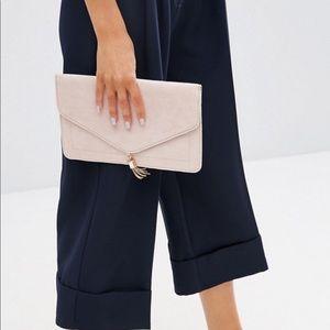 ASOS Envelope Blush Pink Clutch with Gold Tassel